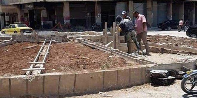 المجلس البلدي في داريا يباشر بتأهيل دوار الباسل