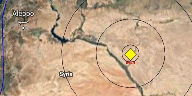 هزة أرضية متوسطة بقوة 4.4 درجات على بعد 45 كم شمال شرق مدينة دير الزور