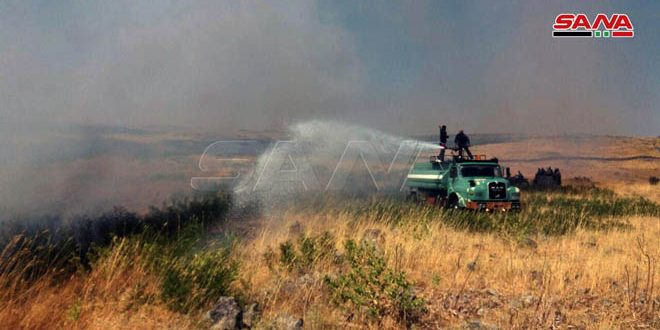 إخماد حريق ضخم في قرية حرفا بريف دمشق