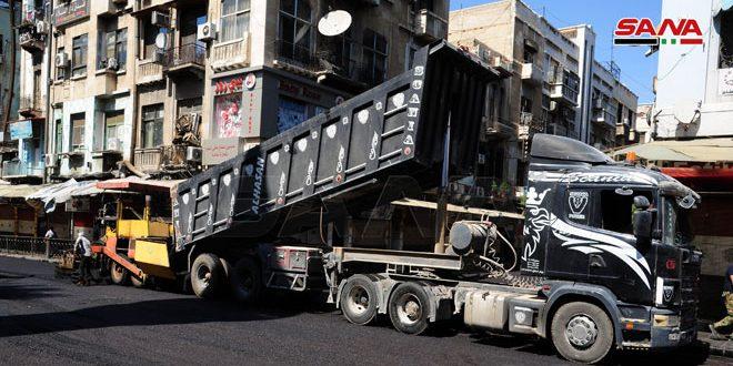 محافظة دمشق: انتهاء أعمال التزفيت في الحريقة والقنوات