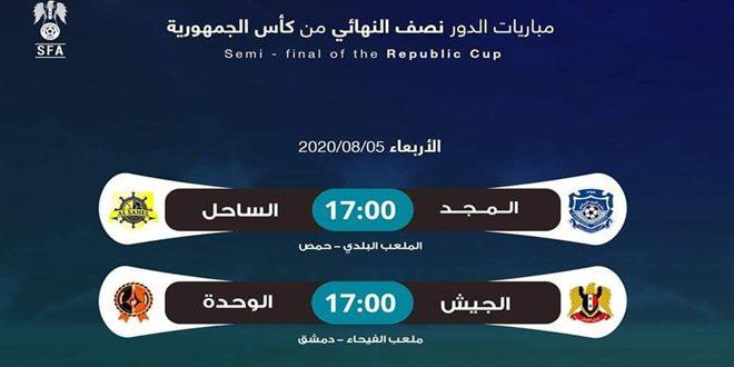 لقاءان حاسمان في نصف نهائي كأس الجمهورية لكرة القدم