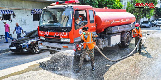 حملة تنظيف وتعقيم باللاذقية في إطار إجراءات التصدي لكورونا