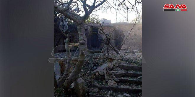 استشهاد مدني جراء سقوط عدة قذائف أطلقتها التنظيمات الإرهابية على بلدة جورين بريف حماة