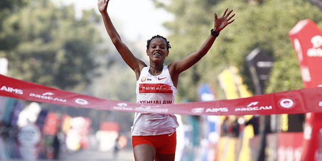 الإثيوبية يهولاو تسجل ثاني أسرع زمن في نصف الماراثون في الهند