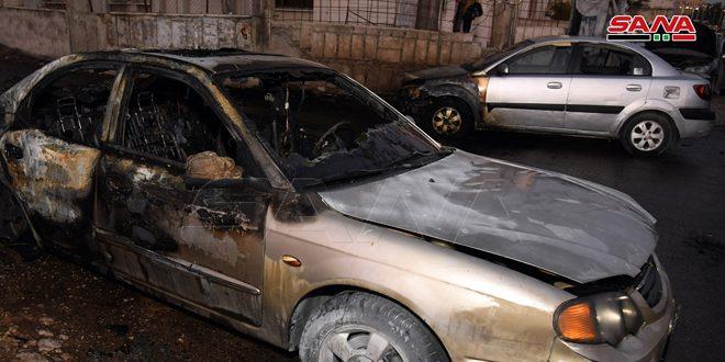 إخماد حريق اندلع في ثلاث سيارات بحي الشيخ سعد بدمشق دون أضرار بشرية