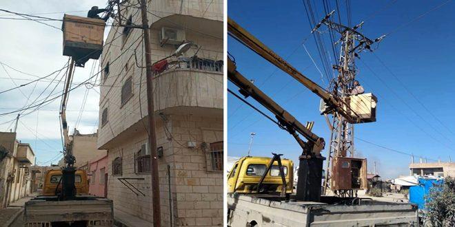 كهرباء الحسكة: صيانة مراكز التحويل في مدينتي الحسكة والقامشلي