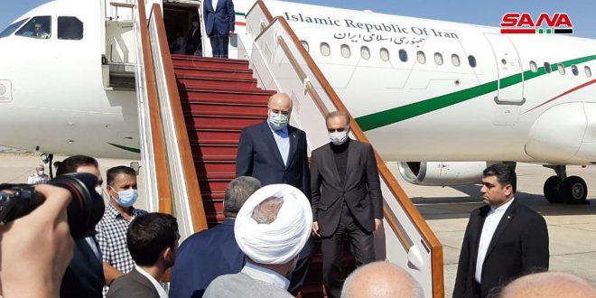 وصول رئيس مجلس الشورى الإيراني إلى مطار دمشق