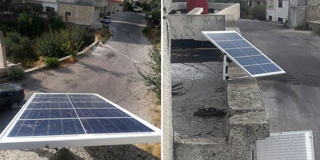 مبادرة لإنارة الشوارع في كفرام بريف حمص بالطاقة الشمسية 